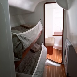 sailboat crew quarters, sloop, 55' cruising sailboat
