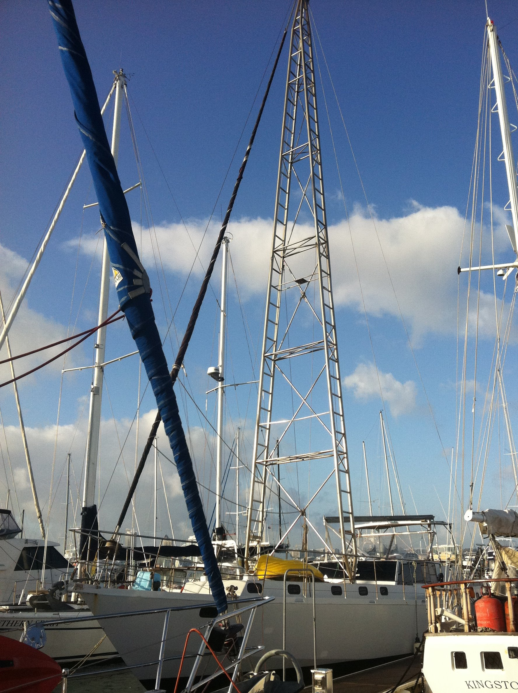 sailboat with strange rigging and mast tower
