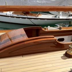 Beautifully varnished wood sailboat