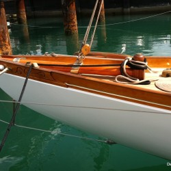 beautiful wood sailboat