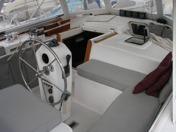 S/V Grace has a large comfortable cockpit