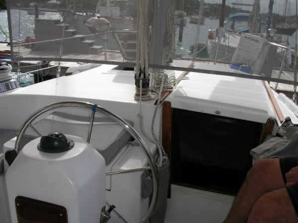 The aft companionway which leads to the master stateroom
