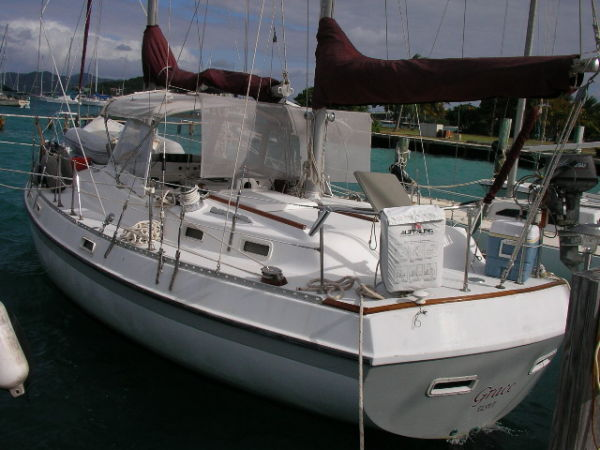 S/V Grace in the marina in the USVI