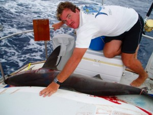 shark caught on passage aboard a sailboat, sailboat fishing, fishing from sailboat